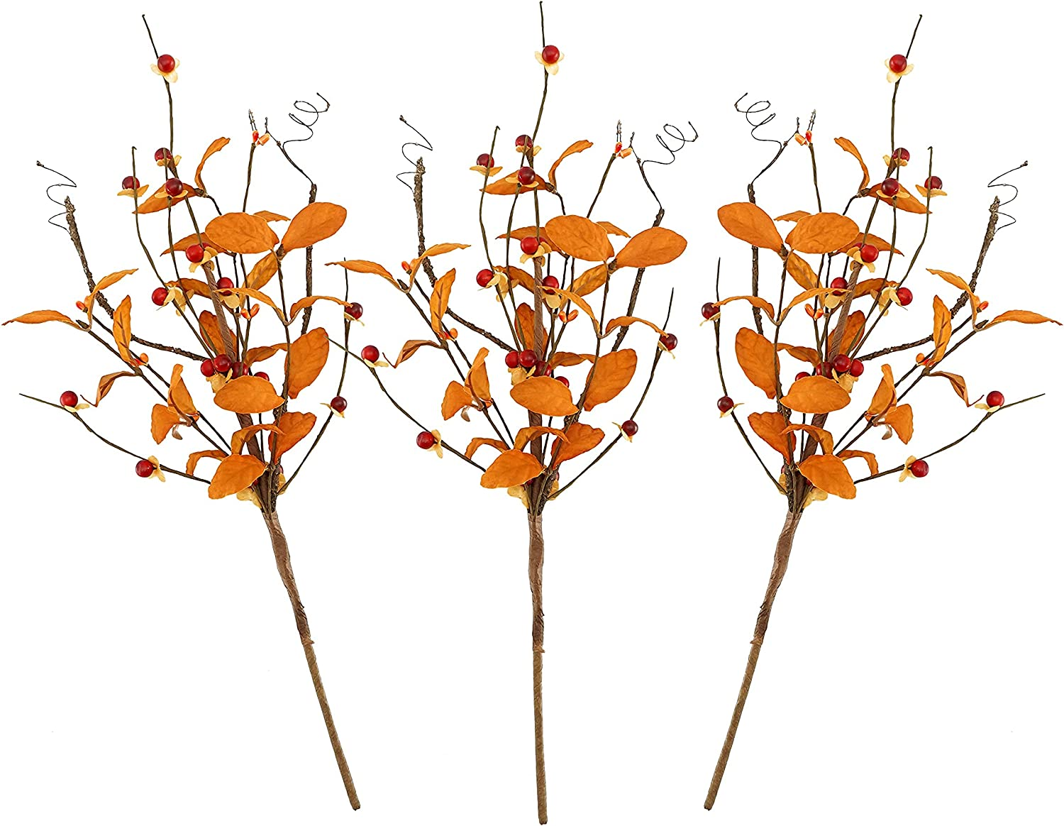 18 inches 3 Pieces Fall Pick, Leaves Mixed Orange Berries and Curly twig Pick Fall Decorations vase Office Home and Kitchen Decor