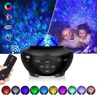 Tanbaby Proyector de Luz Estelar,Proyector LED Color Reproductor de Música con Bluetooth/Altavoz/Temporizador,Lámpara luces con Control Remoto,Luz bebé nocturna, para regalos, hogar y fiesta