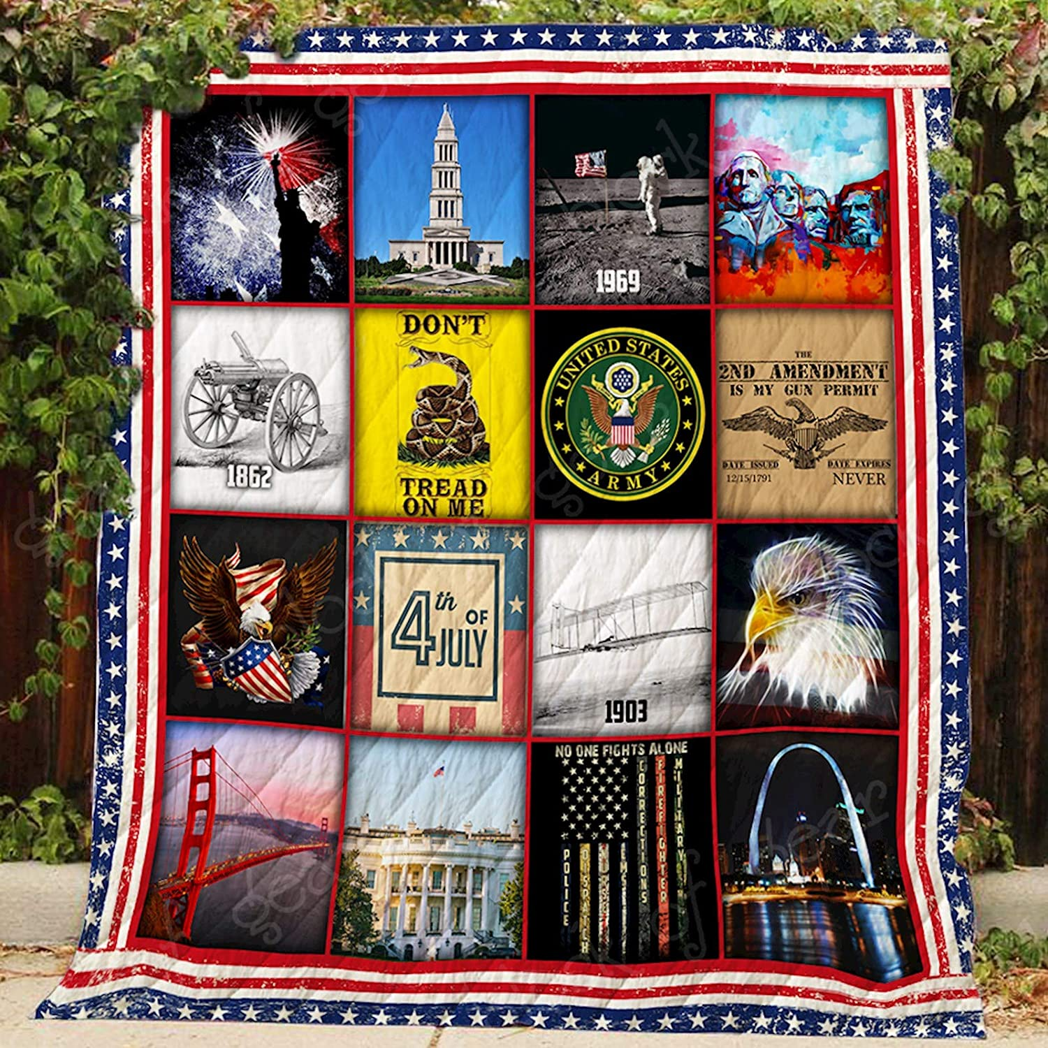 Proud to Be an American Quilt P465, Queen All-Season Quilts Comforters with Reversible Cotton King Queen Twin Size - Best Decorative Quilts-Unique Quilted for Gifts