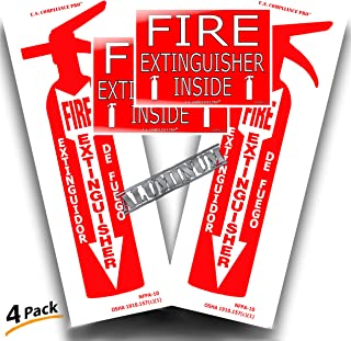 Fire Extinguisher Aluminum Metal Reflective Sign and Sticker 4 PACK | 2 Large 4x12 Bilingual Spanish Outdoor Location Arrow Signs, 2 Small 5x7 Inch Truck Cabinet Vinyl Decal | Pass Safety Inspection