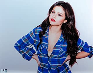 Selena Gomez Signed Autographed 11X14 Photo Sexy Cute Plaid Shirt GV793646