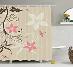 Ambesonne Country Decor Shower Curtain Set, Floral Background with Dragonflies and Spiral Fashioned Foliage Bud Elements A...