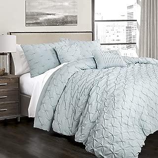 Lush Decor Ravello Shabby Chic Style Pintuck Blue 5 Piece Comforter Set with Pillow Shams, King