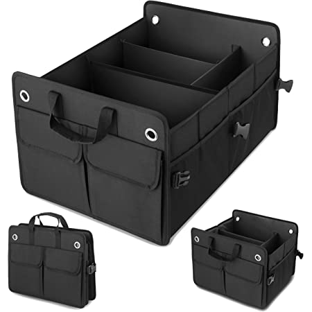 Amorfa Auto Kofferraum Organizer Auto Aufbewahrungsbox Zurrgurten Zusammenklappbarer Kofferraumtasche Kofferraum Organizer Auto Kofferraum Organizer Upgrade Auto