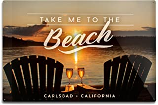 Lantern Press Carlsbad, California - Take Me to The Beach - Sunset View - Sentiment (12x18 Aluminum Wall Sign, Wall Decor Ready to Hang)