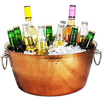 BREKX Rose Copper Stainless-Steel Insulated Double-Walled Metal Beverage Bucket for Ice and Drinks, Beverage Chiller for Parties