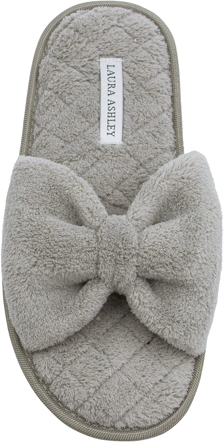 Laura Ashley Ladies Open Toe Spa Slippers with Bow and Memory Foam Insole