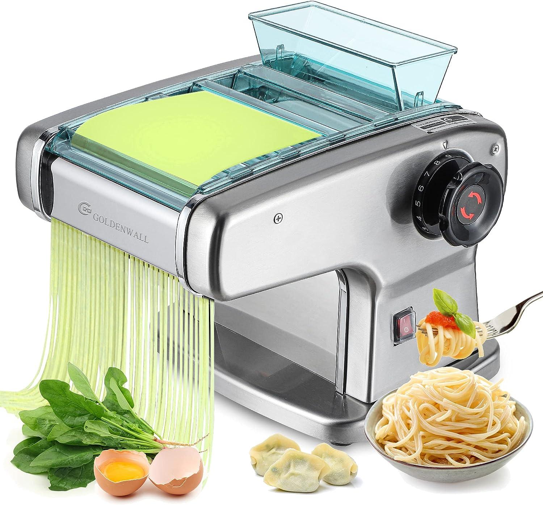 CGOLDENWALL Máquina de Pasta Semiautomático de Acero Inoxidable Máquina de Rodillos para Lasagna Ravioli Spaghetti Fettuccine ( Fina 2mm, Redonda 2,5mm, Plana 4mm, Ancho 9mm)