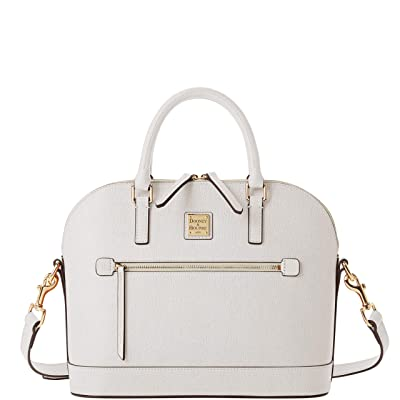 Dooney & Bourke Saffiano Domed Zip Satchel (Ecru) Handbags