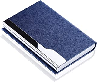 MaxGear Professional Business Card Holder Pocket Business Card Case Slim Business Card Wallet Business Card Carrier for Men & Women, 3.7 x 2.43 x 0.5 in, Vegan Leather & Stainless Steel, Oracle Blue