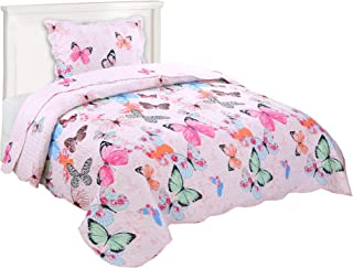 MarCielo 2 Piece Kids Bedspread Quilts Set Throw Blanket for Teens Boys Girls Bed Printed Bedding Coverlet Butterfly A72(Twin(68''x86''))