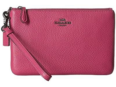 COACH Polished Pebble Small Wristlet (Dark Pink/Gunmetal) Handbags
