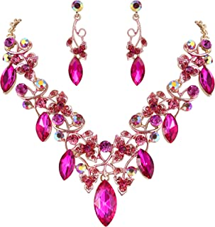 Clearine Women's Bohemian Boho Crystal Floral Vine Leaf Statement Necklace Dangle Earrings Set