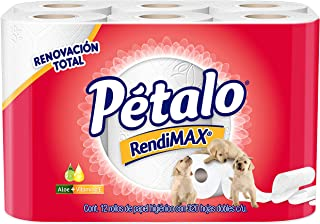 Pétalo Rendimax Papel Higiénico con Aloe y Vitamina E, color Blanco, 12 Rollos de 320 Hojas