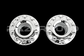 Razer Auto Chrome 10 Lug FRONT Wheel Center Hub Cap 1 Pair for 05-17 Ford Super Duty F350+F450+F550 Dually Truck Only