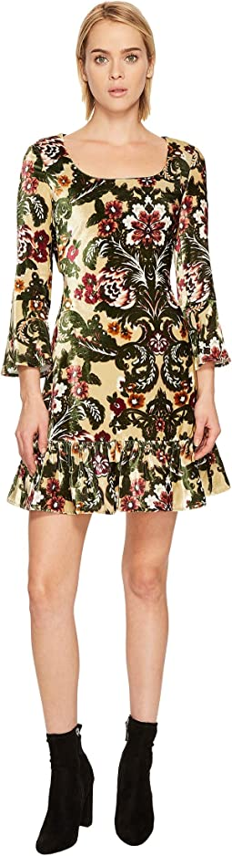 Brocade Printed Velvet Mini Dress