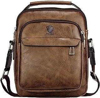 Elios Coffee PU Leather Trendy Retro Large Capacity Work Travel Wear Messenger Bag For Men