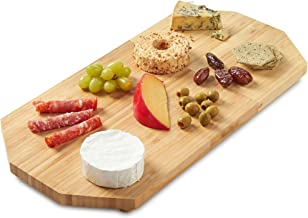 VonShef Raised Platter Cheese Board Serving Tray, Great for Home Entertaining and Dinner Parties, Natural Bamboo Wooden Plate with Gold Raised Feet, L19.5 X W10 X D0.5 Inches