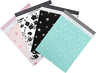 Inspired Mailers - Poly Mailers 14.5x19 Variety Pack of 40-10 Each: Purple Floral, Rose Gold Stars, Silver Stars, Aqua Arr...
