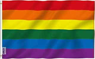 ANLEY EverStrong Series 3x5 Foot Rainbow Flag (Listras costuradas) Nylon resistente - 2 linhas de trava de costura - Bande...