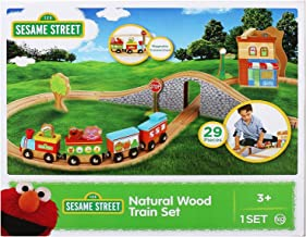Fisher Price Sesame Street Natural Wood Train Set for Toddlers, 29-Piece - Kids Tracks Set with Magnetic Train Cars, Bridge and Figure-8 Track, Elmo, Abby Cadabby, and Oscar the Grouch Characters