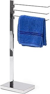 Relaxdays Toalla de Cromado Soporte 78x 18x 25cm Toalla Soporte toallero con 3Brazos móviles toallero para baño o Ducha Toallas de Acero Cromado, plástico Placa Inferior, Color Plateado