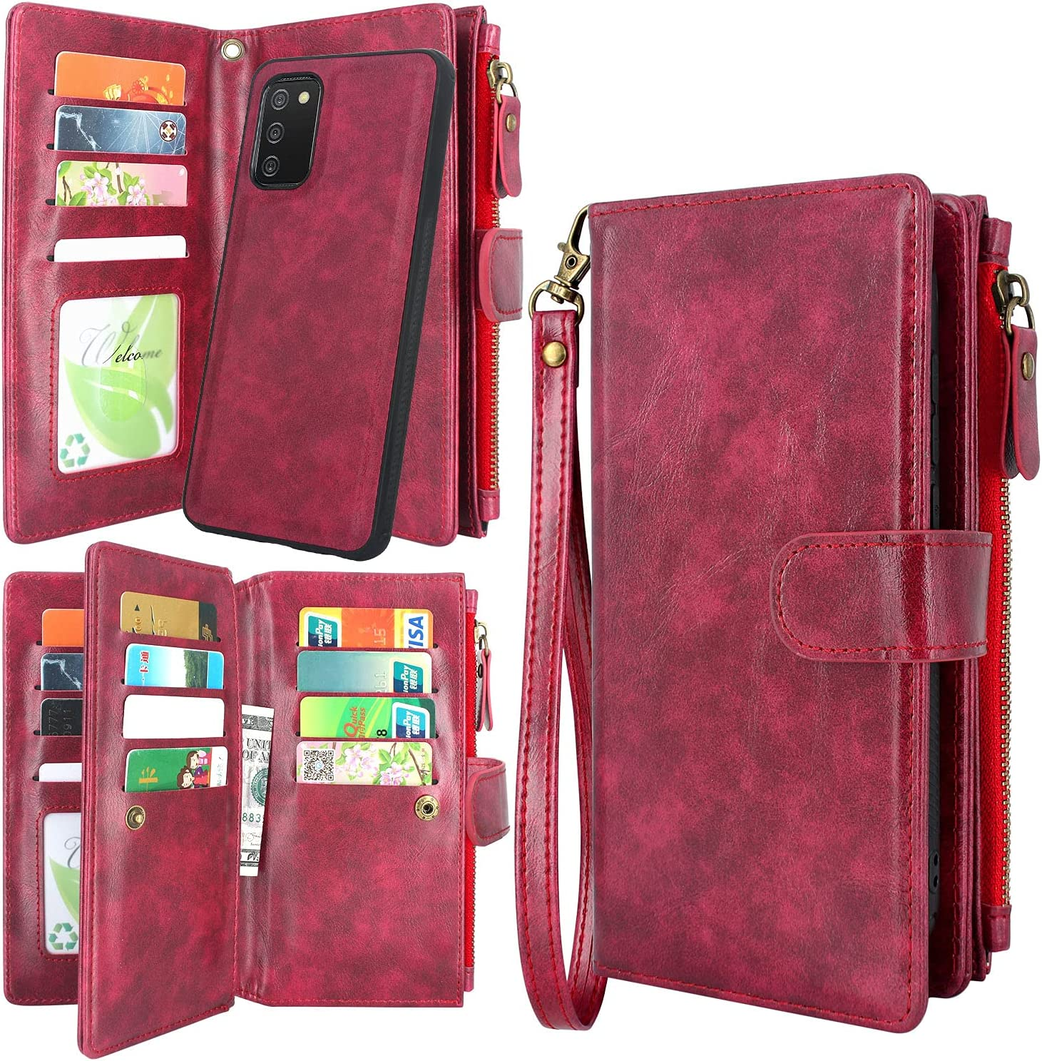 Harryshell Detachable Magnetic Zipper Wallet Leather Case Cash Pocket with 12 Card Slots Holder Wrist Strap for Samsung Galaxy A02S (SM-A025) (Wine Red)