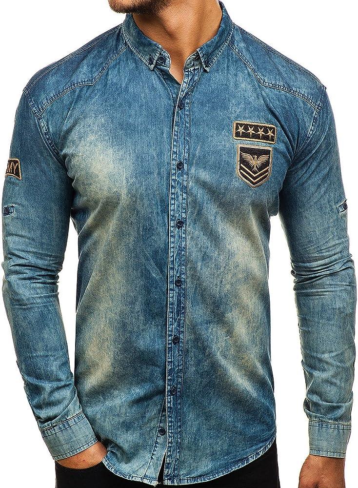 Bolf, camicia jeans ,denim  manica lunga per uomo,casual,98% cotone, 2% elastan