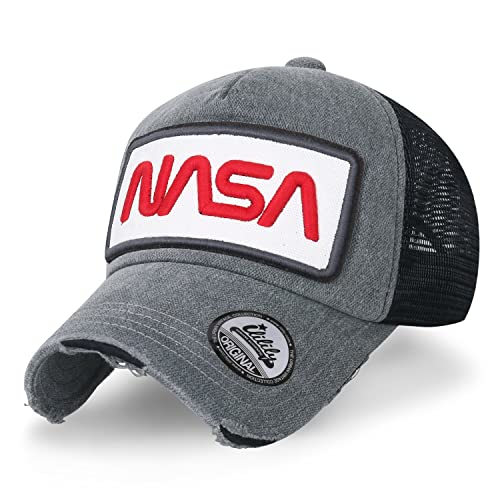 24134761602 ililily NASA Worm Logo Embroidery Baseball Cap Mesh Snap Back Trucker Hat