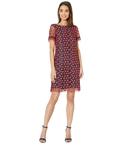 Tahari by ASL Short Sleeve Lace Floral Dress (Daisy Lace Navy/Red) Women