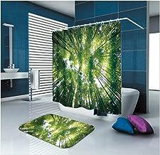 Epinki Polyester Washable Bathroom Curtain Set Green Forest Shower Curtain with 12 Hooks Size 165x200CM Bathroom Curtain Bath