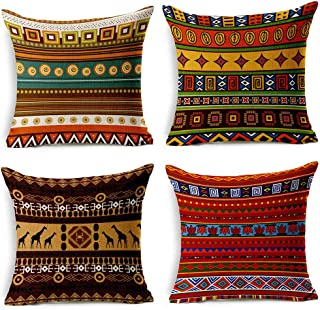 VOGOL 4-Pack Cotton Linen Sofa Home Decor Design Throw Pillow Case Cushion Covers Square..