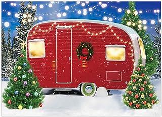 Funnytree Weihnachts Hintergrund, Wintercamp, Tannenbaum, Schnee Hintergrund, Neujahr, Urlaub, Festival, Party, Dekoration, Banner, Fotorequisite, Geschenke, 2,8 x 1,5 m