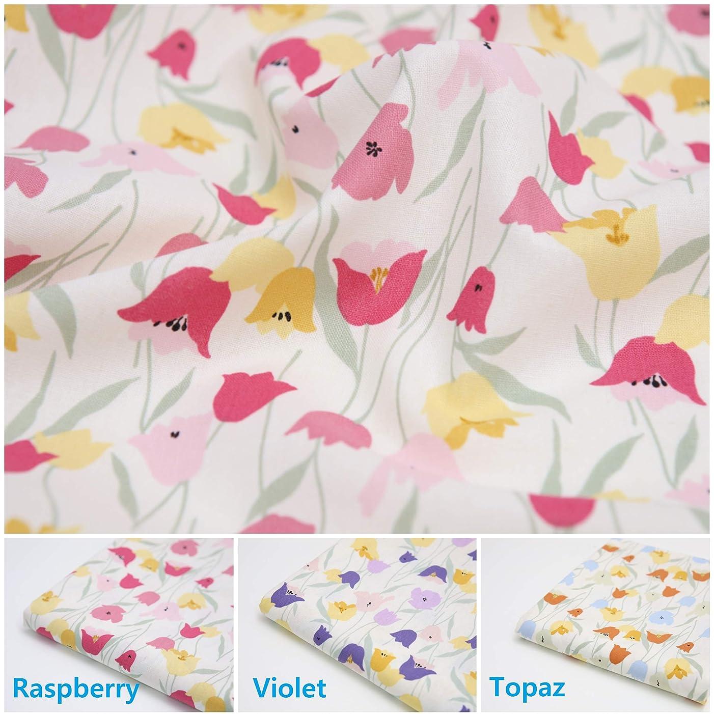 COTTONVILL Linen Blend Flowers Quilting Fabric 2yd, Tulip (Raspberry)