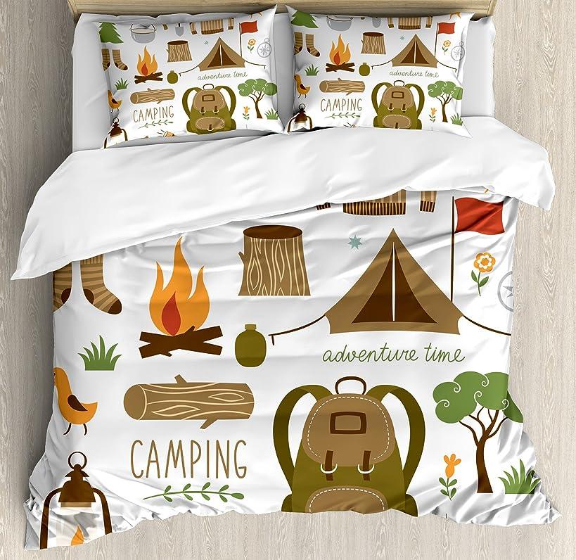 Ambesonne Adventure Duvet Cover Set Queen Size, Camping Equipment Sleeping Bag Boots Campfire Shovel Hatchet Log Artwork Print, Decorative 3 Piece Bedding Set with 2 Pillow Shams, White Khaki