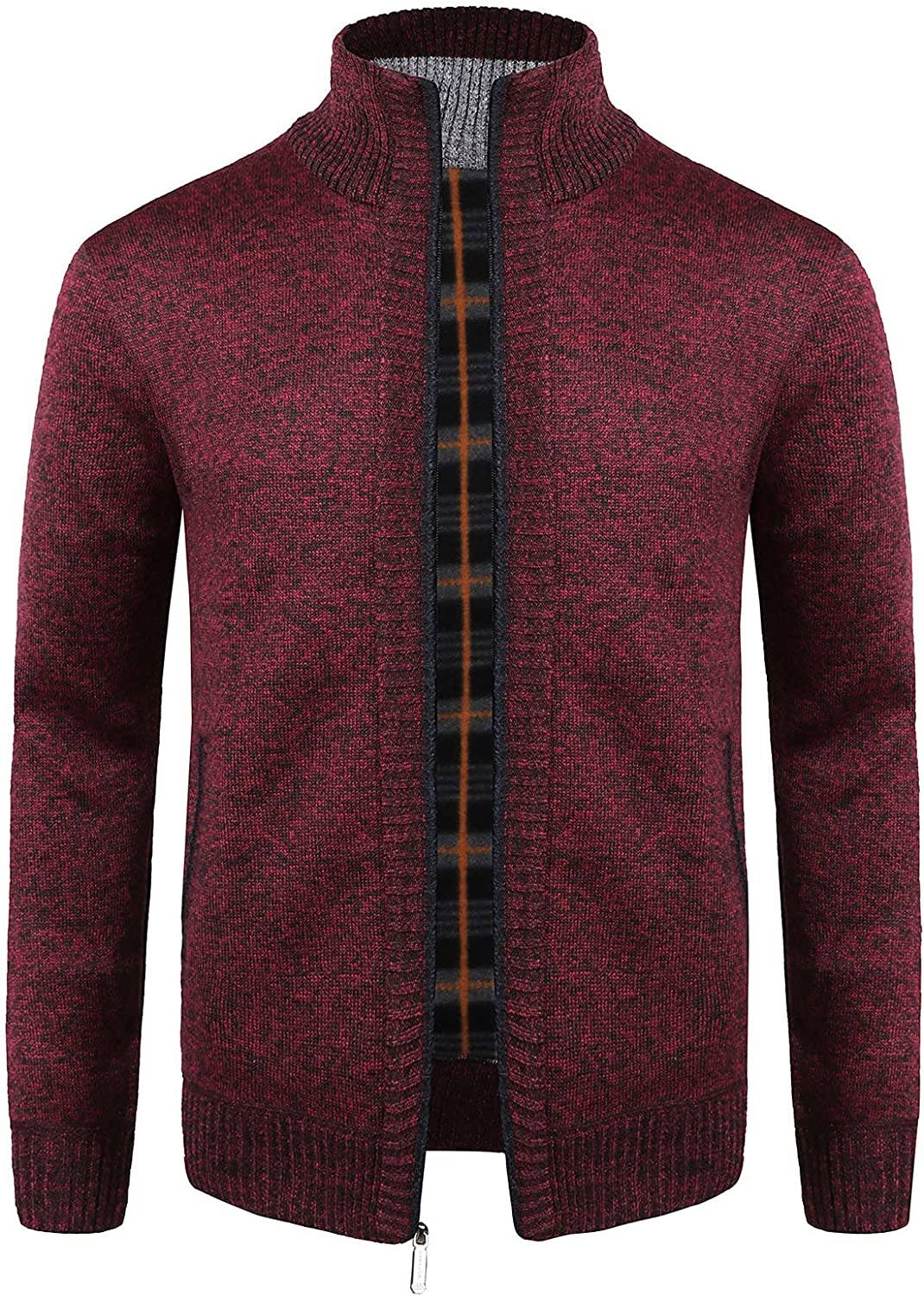 Men Solid Color Stand-up Collar Fleece Sweater Knitwear Shirt Autumn Winter Thicken Warmth Casual Tops Jacket Coats