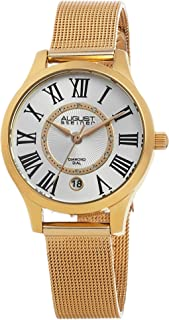 August Steiner Women's Dress Watch - Radiant Diamond Dial with Roman Numeral Hour Markers + Bonus Date Window on Yellow Go...