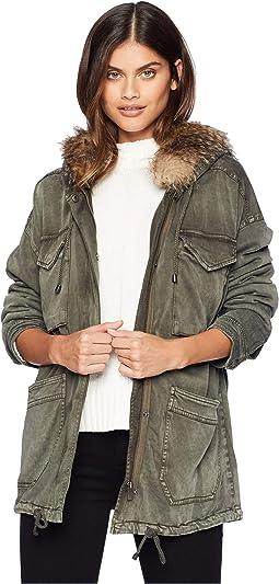Dune Sateen Jacket w/ Faux Fur