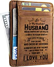 Husband Walet - Engraved Leather Front Pocket Wallet (M - My husband, I will always love you)