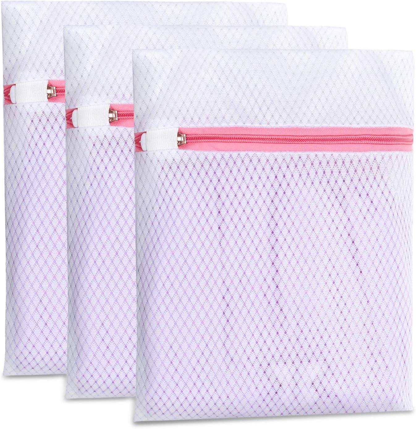 Pack de 3 bolsas pequeñas de malla para ropa delicadas y lencería, 125 g/m², bolsa de lavandería para lavadora, calcetines, ropa interior, bragas, organización de viajes