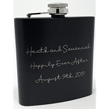 Monogram Logo Custom Engraved 13 Colors Available Personalized Coated Flask