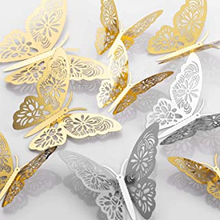 MWOOT 48 piezas mariposas decorativas 3d, mariposas pegatinas de pared decorativas para la decoración de la fiesta de cumpleaños dormitorio de la boda decoración del hogar