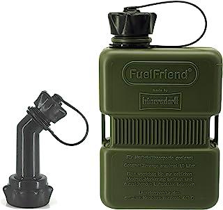 FuelFriend® Plus 1,0 Liter   Sonderserie Oliv   Klein Benzinkanister Mini Reservekanister + verschließbares Auslaufrohr