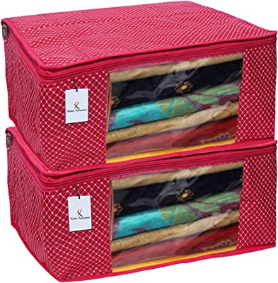 Kuber Industries Polka Dots 2 Piece Cotton 3 Layered Quilted Saree Cover, Rani Color-CTKTC021348