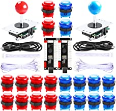 Best Hikig 2 Player led Arcade Buttons and joysticks DIY kit 2X joysticks + 20x led Arcade Buttons Game Controller kit for MAME and Raspberry Pi - Red + Blue Color Review