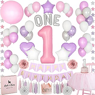 1st Birthday Girl Decorations Set + (HIGH CHAIR TUTU) + (Baby CROWN) + (ONE Letter Balloons) | Unicorn Pink Purple Onederland Party Supplies | [71+ items]