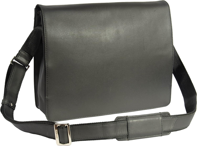 A1 FASHION GOODS Mens Messenger Black Leather Bag Vintage A4 Laptop Casual Record Bag - A48
