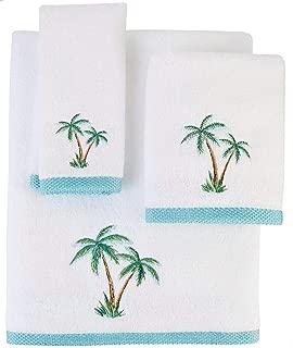 Coastal Home Palm Isle Embroidered Bath Towel Collection Hand Towel White/Green/Blue