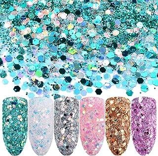 6 Colors Chunky Glitter Nail Sequins Iridescent Flakes Colorful Mixed Nail Art mermaid Makeup