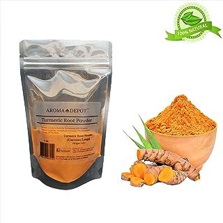 Aroma Depot 4oz Organic Turmeric / Tumeric Ground Root Powder 100% Pure (Curcuma Longa) Curcumin Powder Raw, Non-GMO & Gluten Free Antioxidants | Keto, Paleo, Vegan | Anti-Inflammatory From India